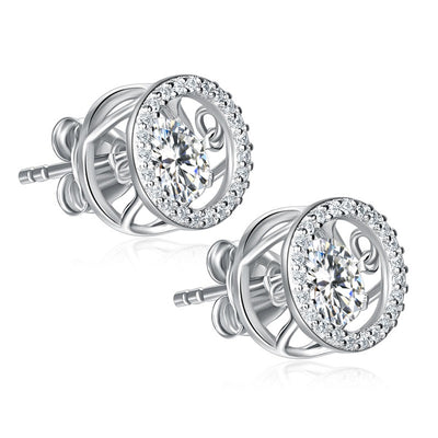 Dancing Stone Classic Stud Earrings 925 Sterling Silver - diamondiiz.com