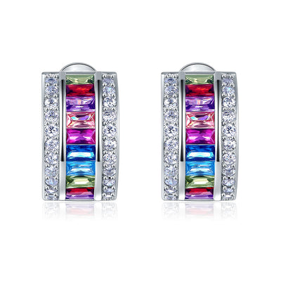 Lady New Style Muti-Color Stones Earrings 925 Sterling Silver - diamondiiz.com