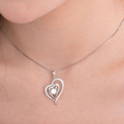 Dancing Stone Elegant Heart Pendant Necklace 925 Sterling Silver - diamondiiz.com