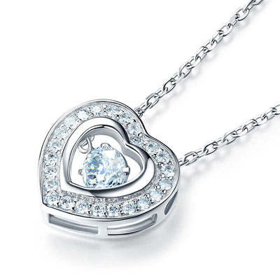 Dancing Stone Heart Halo Pendant Necklace 925 Sterling Silver - diamondiiz.com