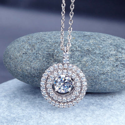 Dancing Stone Halo Pendant Necklace 925 Sterling Silver - diamondiiz.com