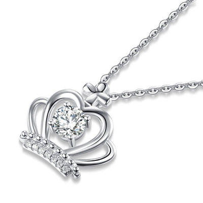 Fashion Crown Pendant Necklace 925 Sterling Silver - diamondiiz.com