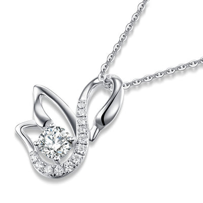 Swan Pendant Necklace 925 Sterling Silver - diamondiiz.com