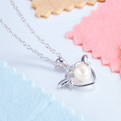 Kids Girl Angel Heart Freshwater Pearl Pendant Necklace 925 Sterling Silver - diamondiiz.com