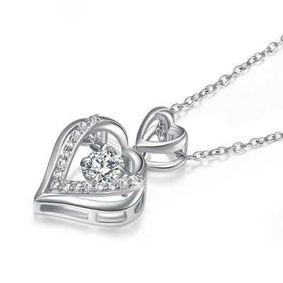 Dancing Stone Double Heart Pendant Necklace 925 Sterling Silver - diamondiiz.com