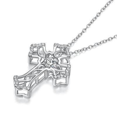 Dancing Stone Cross Pendant Necklace 925 Sterling Silver Vintage Style - diamondiiz.com