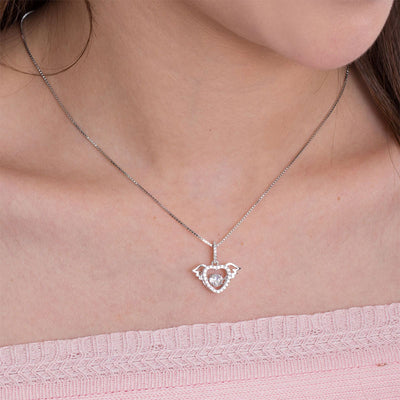 Dancing Stone Heart Angel Wing Pendant Necklace 925 Sterling Silver - diamondiiz.com