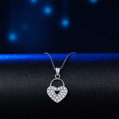 Love Heart Lock Pendant Necklace 925 Sterling Silver - diamondiiz.com