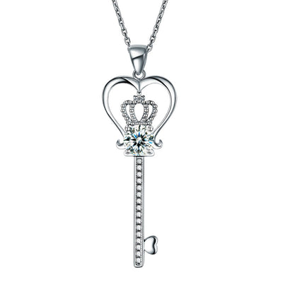 Love Heart Key Pendant Necklace 925 Sterling Silver - diamondiiz.com