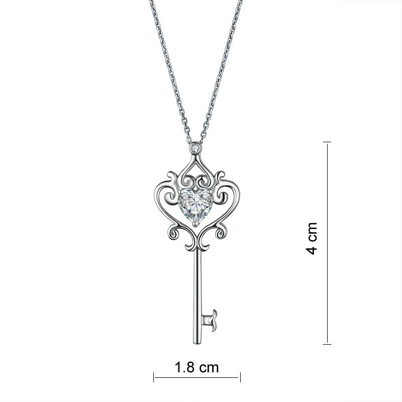 Love heart key pendant necklace 925 sterling silver diamondiiz mozeypictures Images
