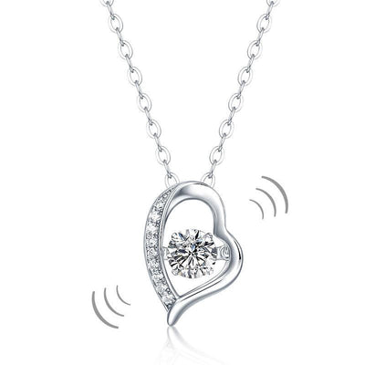 0.5 Carat Moissanite Diamond Dancing Stone Heart Necklace 925 Sterling Silver MFN8135