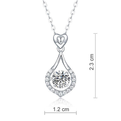 1 Carat Moissanite Diamond Dancing Stone Tear Drop Necklace 925 Sterling Silver MFN8136