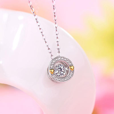 0.4 Carat Moissanite Diamond Dancing Stone Necklace 925 Sterling Silver MFN8144