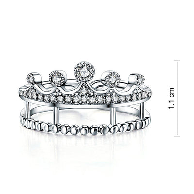 Solid 925 Sterling Silver Ring Crown Shape CZ for Lady Trendy Stylish Jewelry - diamondiiz.com