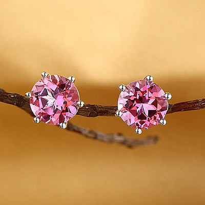 14K White Gold Stud 2.5 Ct Natural Pink Topaz Earrings 6 Claws Prong Classic - diamondiiz.com