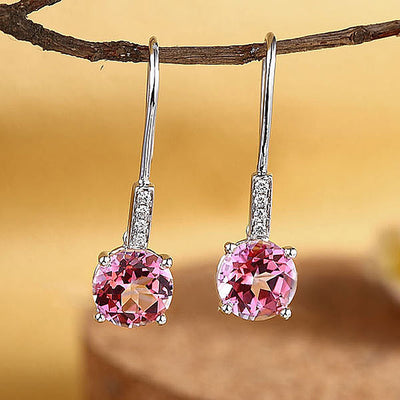 Dangle 14K White Gold 2.5 Ct Pink Topaz Earrings 0.1 Ct Natural Diamonds Bridal - diamondiiz.com