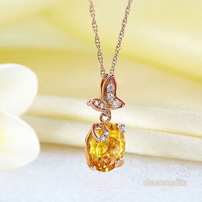 Fine 14K Rose Gold 2 Ct Citrine Butterfly Pendant Necklace 0.17 Ct Diamond 585 - diamondiiz.com