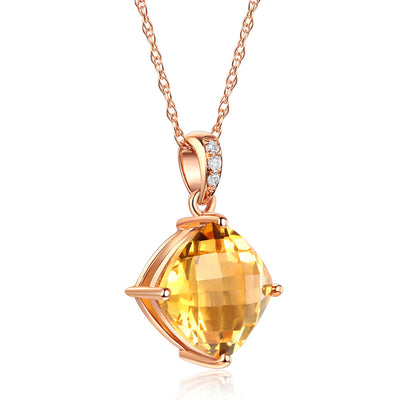 3 Ct Cushion Citrine Pendant Necklace Diamond 14K Rose Gold - diamondiiz.com