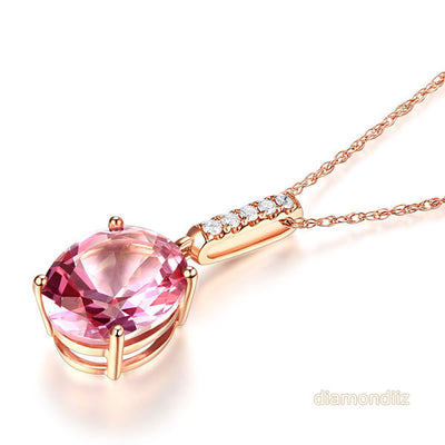 14K Rose Gold Pink Topaz Oval Pendant Necklace - diamondiiz.com