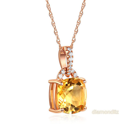 14K Rose Gold 3.5 Ct Cushion Citrine Pendant Necklace 0.1 Ct Diamond - diamondiiz.com