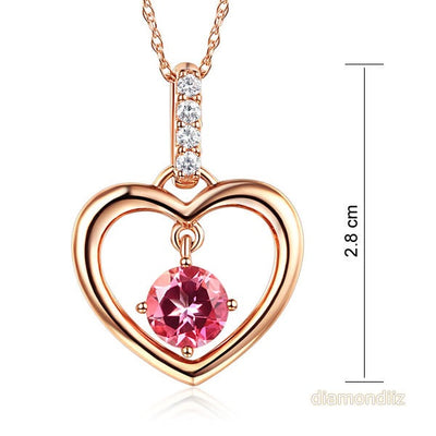 Fine 14K Rose Gold Pink Topaz Heart Pendant Necklace - diamondiiz.com