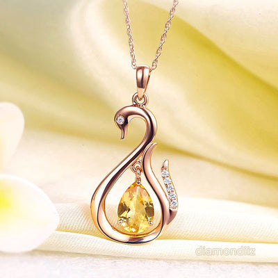 14K Rose Gold Pear Citrine Swan Pendant Necklace - diamondiiz.com