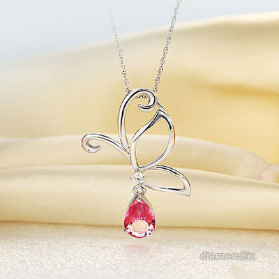14K White Gold Pink Topaz Butterfly Pendant Necklace - diamondiiz.com