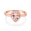 14K Rose Gold Wedding Engagement Ring Pear Morganite 0.11 CT Natural Diamonds - diamondiiz.com