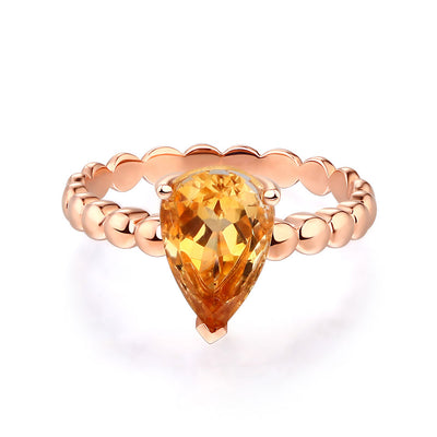 14K Rose Gold Wedding Engagement Solitaire Ring 1.6 Ct Pear Citrine - diamondiiz.com