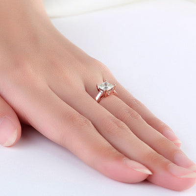 Moissanite Diamond Ring 14K Rose Gold 1 Carat Wedding Engagement - diamondiiz.com