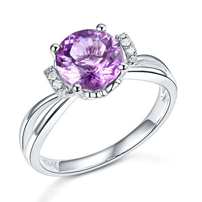 14K White Gold Wedding Promise / Engagement Ring Purple Amethyst Natural Diamond - diamondiiz.com