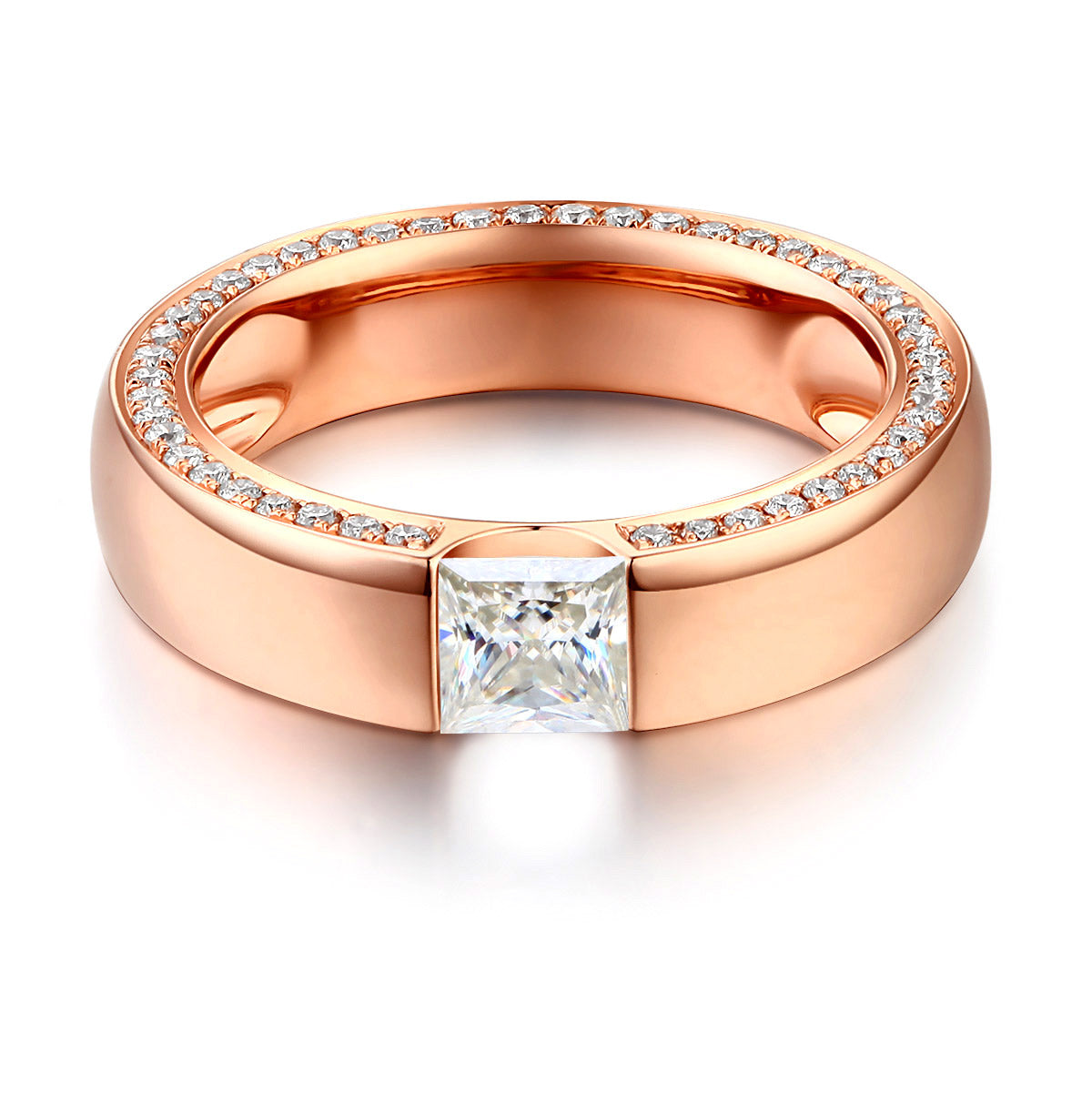 products bands nodeform curved moissanite band by set wedding contoured eternity half channel shadow