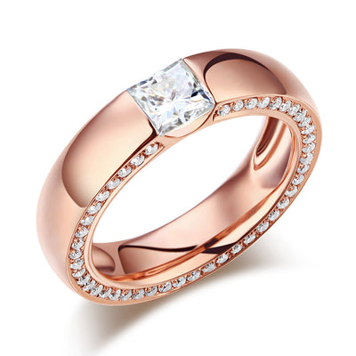 14K Rose Gold 0.6 Carat Moissanite Diamond Wedding Band Eternity Ring - diamondiiz.com