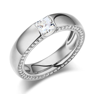 14K White Gold 0.6 Carat Moissanite Diamond Wedding Band Eternity Ring - diamondiiz.com