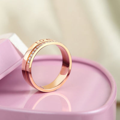 Matching 14K Rose Gold Love Women Wedding Band Ring 0.12 Ct Diamonds Promise - diamondiiz.com