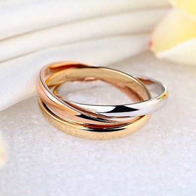 3-Color Multi-Tone 14K Solid White, Rose, Yellow Gold Wedding Band Ring Entwined - diamondiiz.com