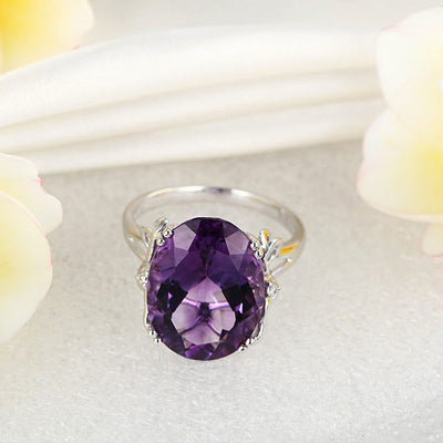14K White Gold Luxury Anniversary Ring 8.3 Ct Oval Purple Amethyst Diamond - diamondiiz.com