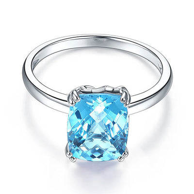 14K White Gold Wedding Promise Anniversary Engagement Ring Swiss Blue Topaz - diamondiiz.com