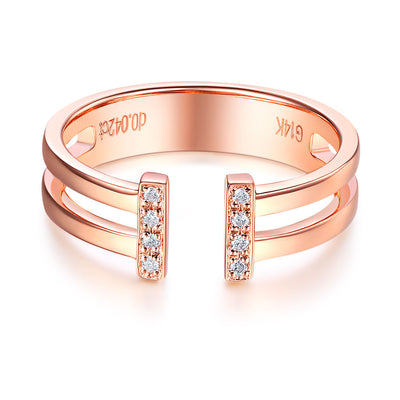 14K Rose Gold Wedding Band Anniversary Ring 0.04 Ct Diamond Fine Jewelry - diamondiiz.com