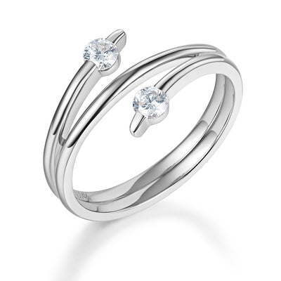 Solid 14K White Gold Trendy Ring 0.2 Ct Diamond 585 Fine Jewelry - diamondiiz.com