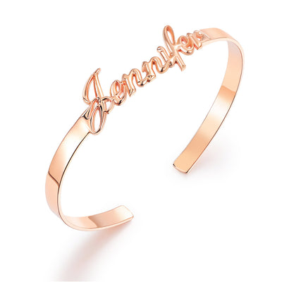 Open Name Bangle Bracelet 925 Sterling Silver with Rose Gold Plated - diamondiiz.com