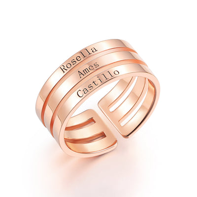 Three Name Ring in 925 Sterling Silver with Rose Gold Plated - diamondiiz.com