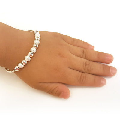 Baby Adjustable Size Bangle Bracelet 999 Pure Silver - diamondiiz.com