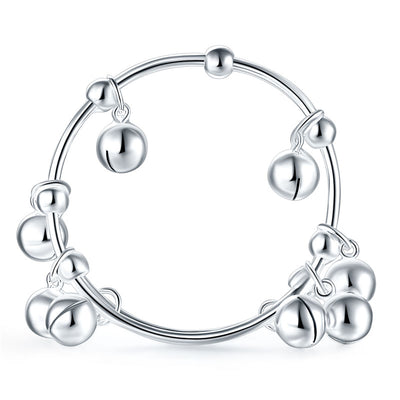 Baby Kids Children Adjustable Size Bells Bangle Bracelet 990 Silver - diamondiiz.com