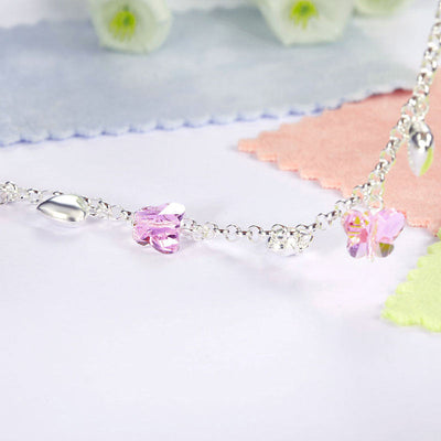 Baby Kids Girl Gift Children Dangle Pink Butterfly Bracelet 925 Sterling Silver - diamondiiz.com