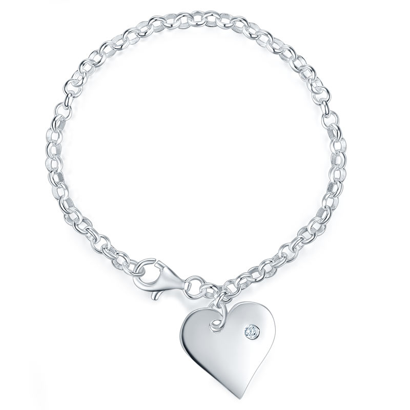 Solid 925 Sterling Silver Dangle Hearts Bracelet Baby Kids Girl Gift Children Jewelry Gift for Baby Shower and New Born Baby 8005