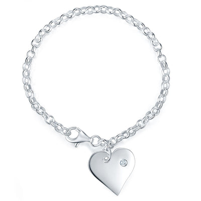 Kids Girl Gift Children Dangle Heart Bracelet 925 Sterling Silver - diamondiiz.com
