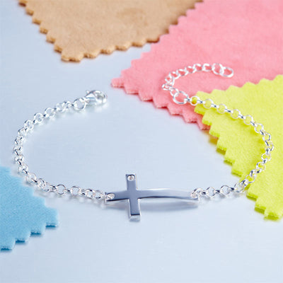 Kids Girl Gift Children Cross Bracelet 925 Sterling Silver - diamondiiz.com