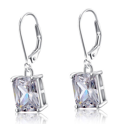 Fashion Princess Cut Dangle Earrings 925 Sterling Silver - diamondiiz.com