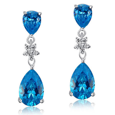 Fashion Bridesmaid Aqua Blue Tear Drop Earrings 925 Sterling Silver - diamondiiz.com